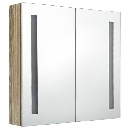 shumee tölgyszínű tükrös fürdőszobaszekrény LED világítással 62x14x60 cm