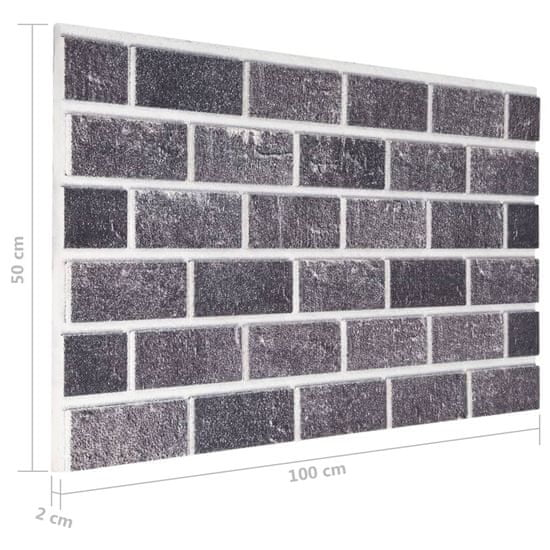 shumee Panele ścienne 3D, wzór czarno-szarej cegły, 10 szt., EPS