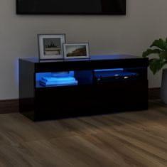 shumee fekete TV-szekrény LED-lámpákkal 90 x 35 x 40 cm