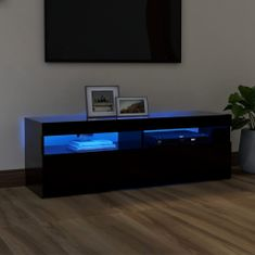 shumee fekete TV-szekrény LED-lámpákkal 120 x 35 x 40 cm