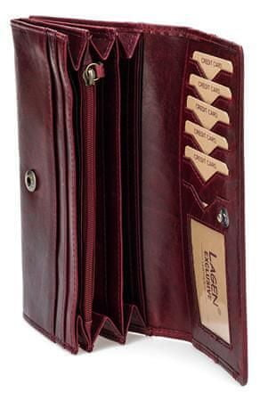 Lagen Kobiety Wino czerwone wino skórzany portfel W-2025 / T