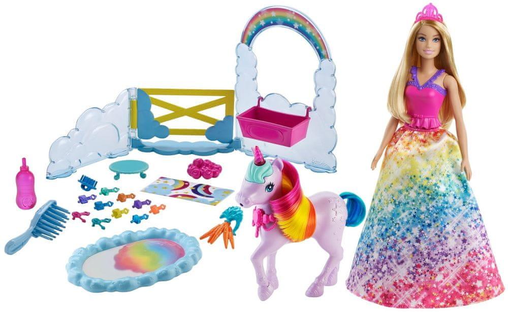 Mattel Barbie Princezna a duhový jednorožec herní set