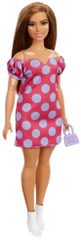 Mattel Barbie Modelka 171 - Różowa sukienka z dużymi kropkami