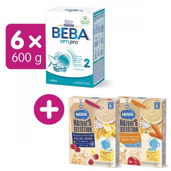 BEBA OPTIPRO 2 (6x600 g) + dárek Nestlé Nature's Selection Mléčná obilná kaše Malina Banán 250g a Jablko Mrkev 250g