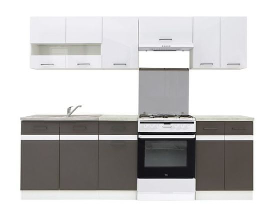 Nejlevnější nábytek Kuchyně JAMISON 180/240 cm, korpus bílý/dvířka bílý lesk, šedý wolfram, PD beton