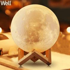 Well 3D MOON LED svjetiljka, stolna, sa promjenom 7 boja na dodir, na baterije