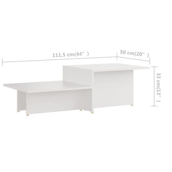 shumee fehér forgácslap dohányzóasztal 111,5 x 50 x 33 cm