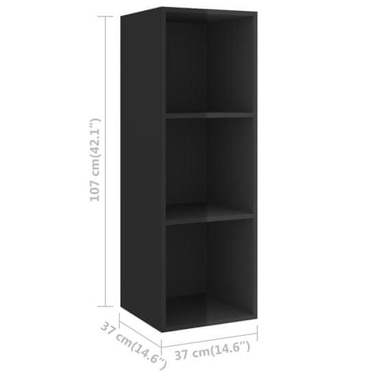 shumee 3-dielne. sada televíznych skriniek, vysoký lesk, čierna, drevotrieska