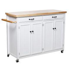 KONDELA Galant servírovací stolík na kolieskach biela / prírodná