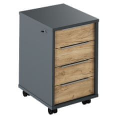 KONDELA Rioma New Typ 30 kontajner na kolieskach grafit / dub artisan