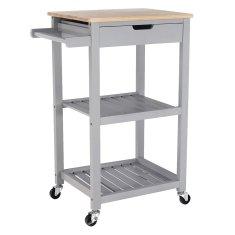 KONDELA Arete servírovací stolík na kolieskach prírodná / sivá