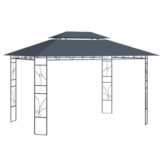shumee antracitszürke pavilon 4 x 3 x 2,7 m 160 g/m²