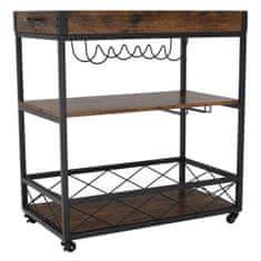 KONDELA Sandro rustikálny servírovací stolík na kolieskach dub smoke / čierna