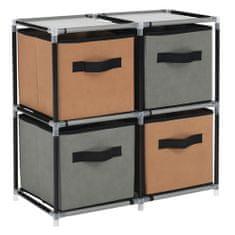 KONDELA Camilo Typ 1 viacúčelový regál s látkovými boxami čierna / hnedá / sivá