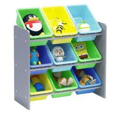 KONDELA Kido Typ 3 organizér na hračky kombinácia farieb / sivá