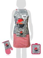 Banquet Set predpasnika, rokavice, podloga BBQ, 3 kosi, sivo/rdeč