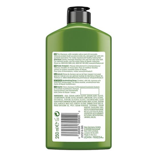 John Frieda Detox šampon za poškodovane lase Detox & Repair (Shampoo) 250 ml