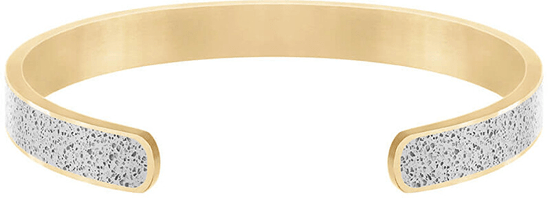 Gravelli Pevný ocelový náramek s betonem Fusion Bold zlatá/šedá GJBMYGG101UN