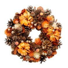 Veniec jesenný s tekvicami a žaluďmi, 24 cm