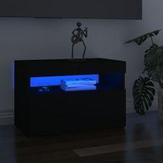 shumee fekete TV-szekrény LED-lámpákkal 60 x 35 x 40 cm