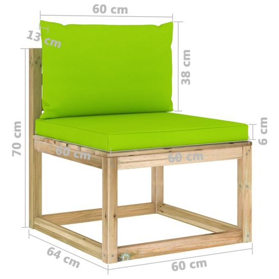 shumee 9 ks. drevená záhradná sedacia súprava s vankúšmi