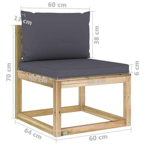 shumee Vrtna sedežna garnitura 12-delna z blazinami impreg. borovina
