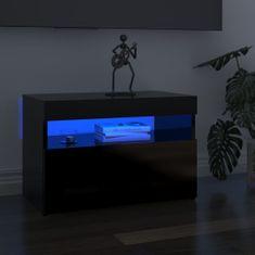 shumee 2 db magasfényű fekete TV-szekrény LED-lámpákkal 60x35x40 cm