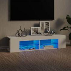 shumee fehér TV-szekrény LED-lámpákkal 135 x 39 x 30 cm