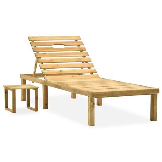 shumee Záhradné ležadlo so stolom a vankúšom impregnovaná borovica