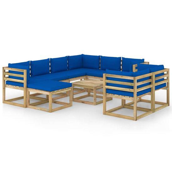 Petromila 10-dielna záhradná sedacia súprava s podložkami impregnovaná borovica