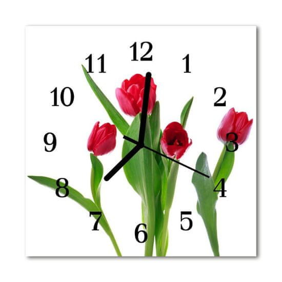 tulup.si Steklena kvadratna ura Tulipani 30x30