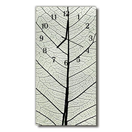 tulup.si Steklena navpična ura Narava leaf srebrna 30x60