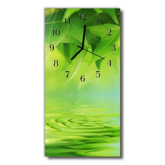 tulup.si Steklena navpična ura Narava green leaves vode