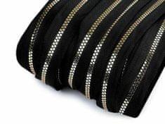 Kraftika 1m (322) černá zlatá zip kostěný šíře 5mm kostičky metráž