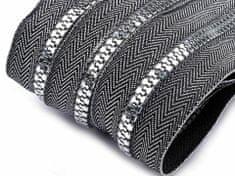 Kraftika 1m stříbrná zip kostěný 5mm metráž zlato a stříbro
