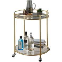 Bruxxi Servírovací stolík Gabi, 75 cm, zlatá/číra
