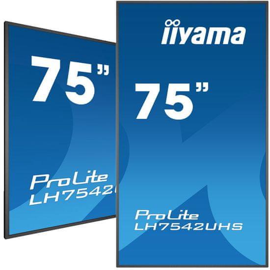 iiyama LH7542UHS-B3 LED LCD informacijski monitor 189 cm, IPS, 4K, VGA / DVI / HDMI / DP