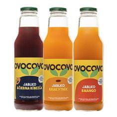 OVOCOVO SET Čierna ríbezľa Rakytník Mango 100% prírodná ovocná šťava sklo 750 ml SET 6 ks