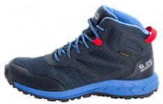 Jack Wolfskin chlapecká kotníčková nepromokavá outdoorová obuv Woodland Texapore Mid 4042152 30 tmavě modrá