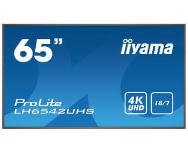 iiyama LH6542UHS-B1 ProLite informacijski monitor 164 cm, 4K UHD, IPS, LED