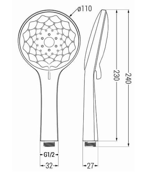 Mexen príslušenstvo - 1-bodový ručný sprchový set R-74, čierna, 785746052-70