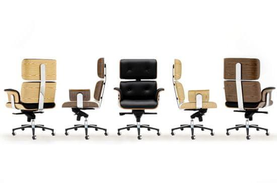 shumee Kancelárska stolička LOUNGE BUSINESS biela - orechová preglejka, talianska prírodná koža, leštená oceľ
