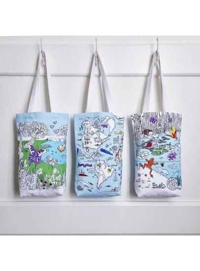 eatsleepdoodle Motýlia záhrada - veľká taška na plece - vyfarbuj a uč sa