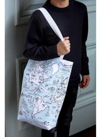 eatsleepdoodle Mapa sveta - veľká taška na plece - vyfarbuj a uč sa