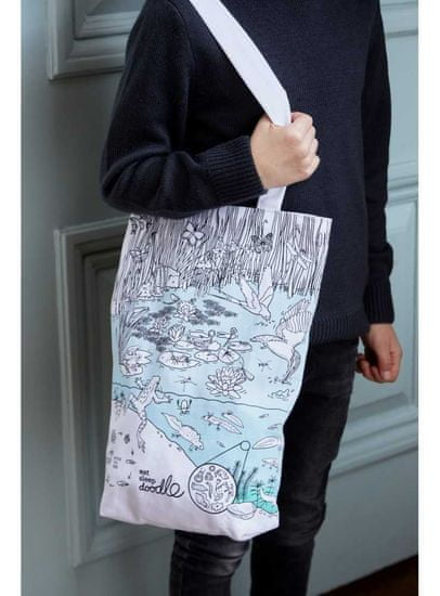eatsleepdoodle Život v rybníku - veľká taška na plece - vyfarbuj a uč sa