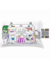 eatsleepdoodle Domček pre bábiky - interaktívna obliečka na vankúš 75x50cm, vyfarbuj a uč sa
