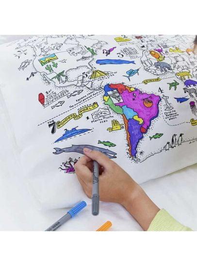 eatsleepdoodle Mapa sveta - interaktívna obliečka na vankúš 75x50cm, vyfarbuj a uč sa