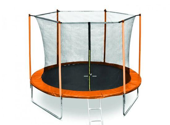 Legoni Fun trampolin, z zaščitno mrežo in lestvijo, 244 cm, oranžen