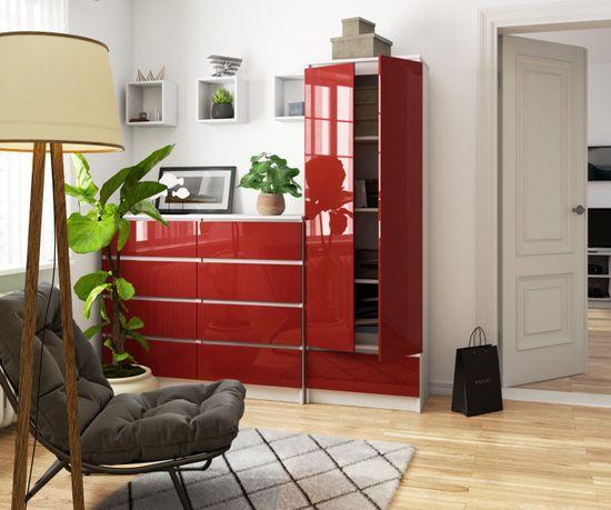 shumee IRODA polcszekrénye R 60cm CLP 1 Fiókos 2 ajtó fehér / vörös fényes