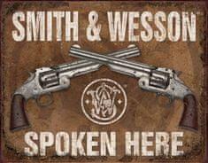 TIN SIGNS Retro plechová ceduľa Smith & Wesson Spoken Here (TSN1849)